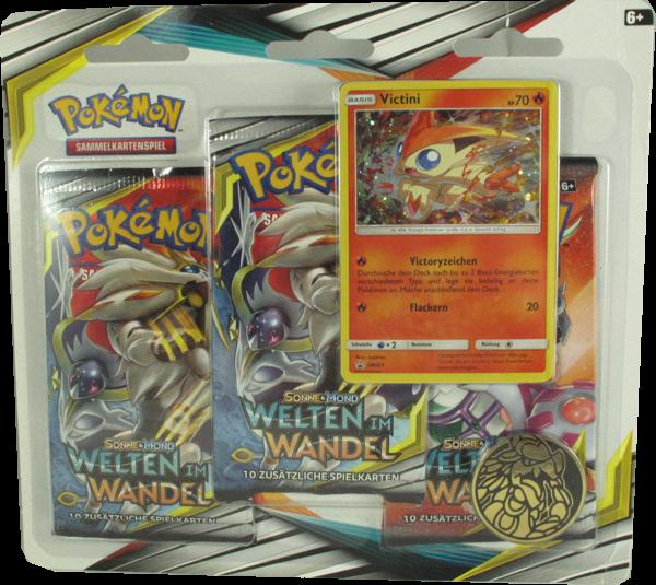 Pokemon Sonne & Mond Welten im Wandel 3er Blister Victini Einzelkarte