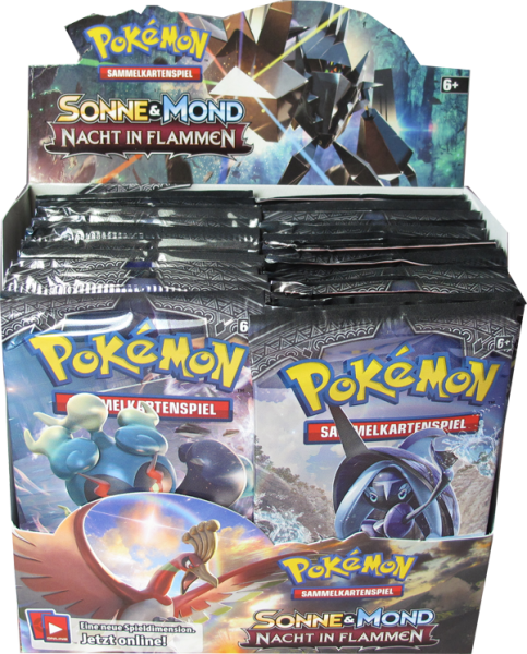 Pokemon Sonne & Mond Nacht in Flammen Booster Display