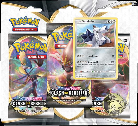 Pokemon Schwert & Schild Clash der Rebellen 3er Blister Booster Duraludon